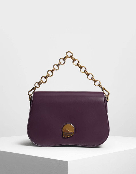 Curved Edge Crossbody Bag in purple