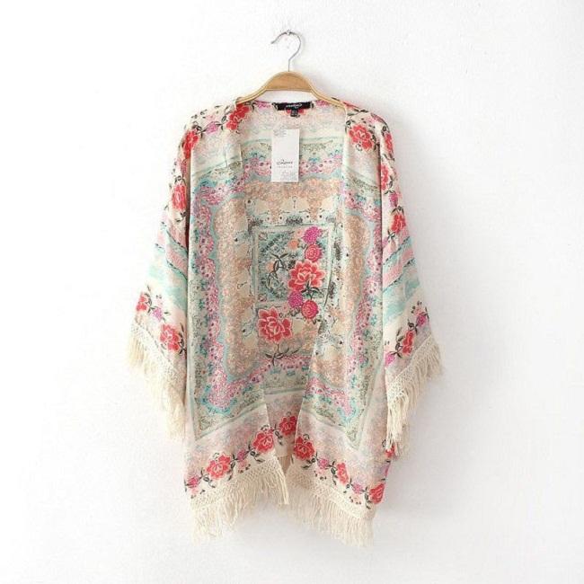 floral kimono cardigan half sleeve chiffon blouse loose quimono ...