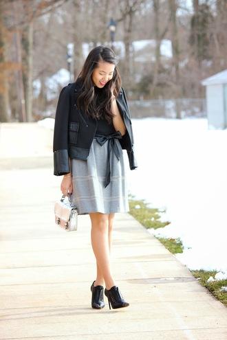 refined couture blogger jacket top skirt shoes bag belt make-up