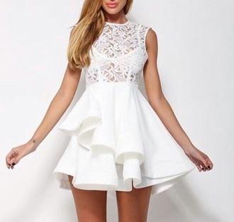 dress white dress ruffle ruffle dress white ruffle dress