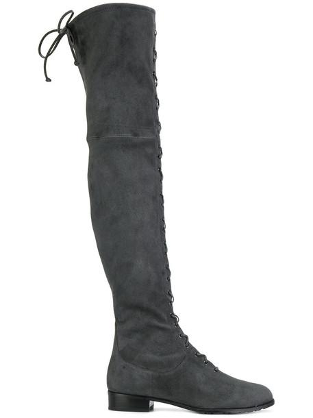 STUART WEITZMAN women lace leather grey shoes