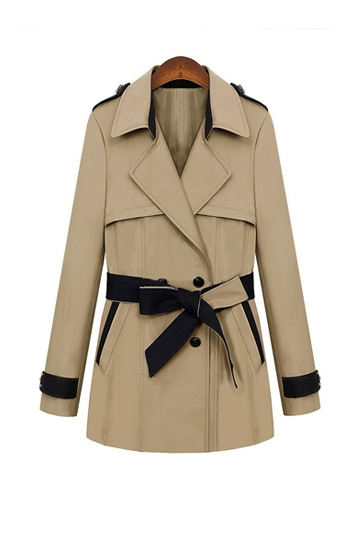 Elegant Color Contrast Belt Coat [FEBK0234]- US$42.49 - PersunMall.com