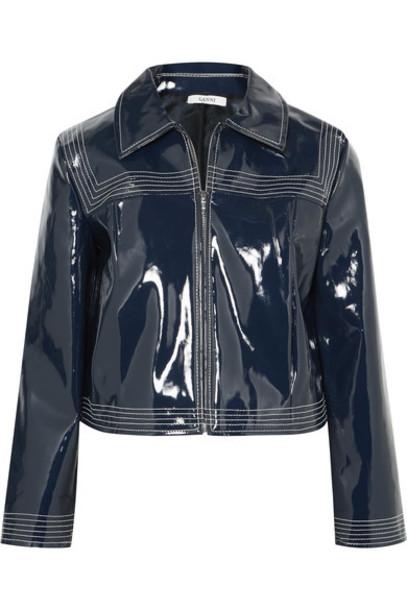 Ganni jacket leather jacket cropped leather navy