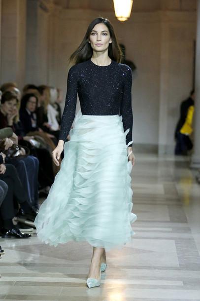 Skirt: top, model, runway, midi dress, fluffy, fashion ...