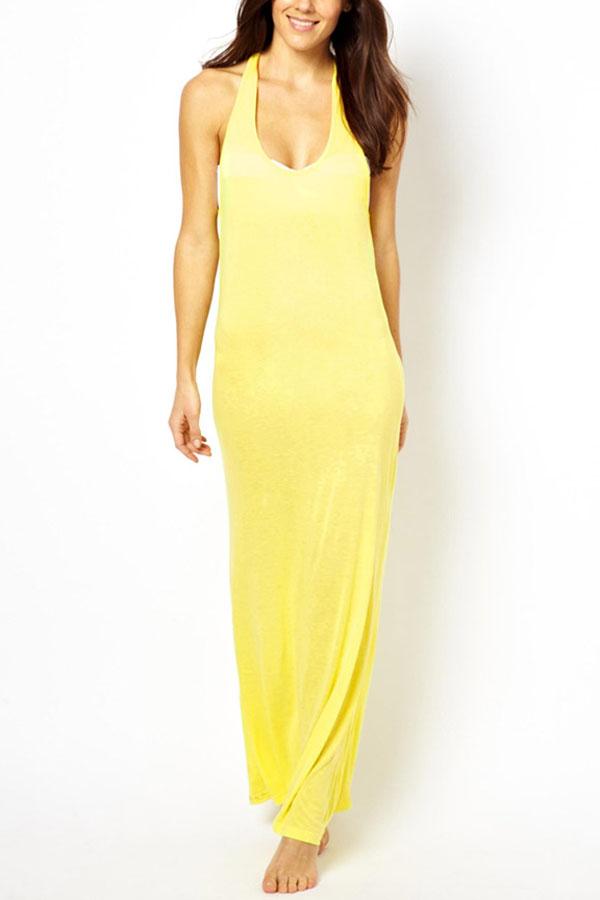 Casual Slit Back Maxi Dress