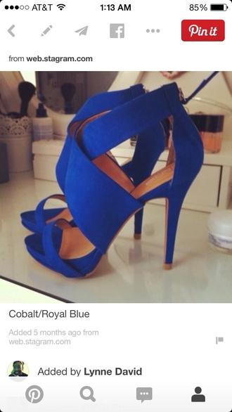 shoes cobalt blue open toes