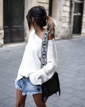 sweater white sweater tumblr knitwear knit denim denim shorts bag black bag