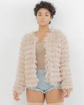 jacket,pink,shag fur jacket,fur coat,fur,pink jacket,shag,faux fur,faux fur jacket,blush,blush pink,blush pink jacket