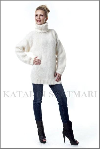 sweater white sweater winter sweater turtleneck sweater women's sweater cozy sweater fuzzy mohair sweater man's sweater winter warm sweater