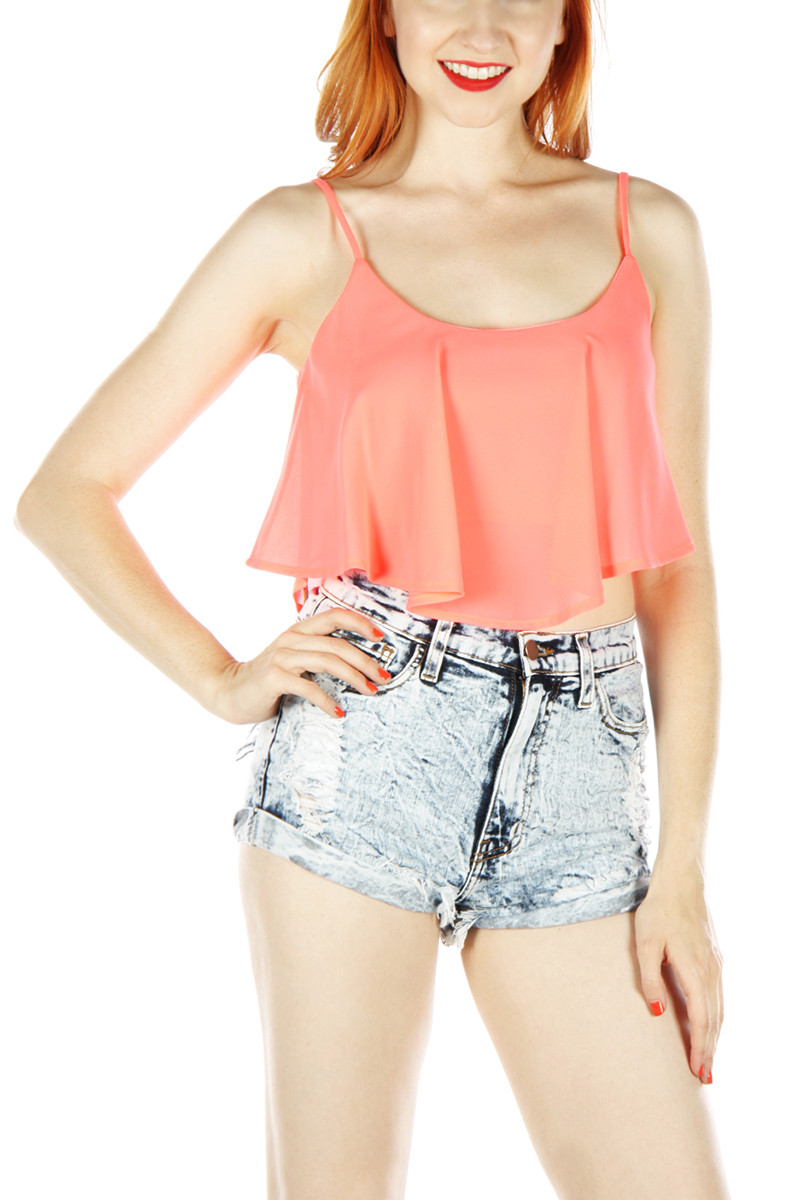 Ruffled Crop Top - Coral - Mint Table