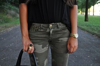 jeans military style pants camouflage studded pants camo pants