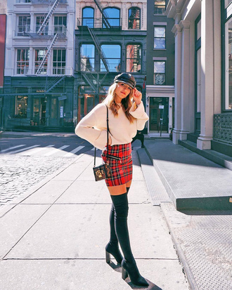 skirt tumblr mini skirt tartan plaid skirt tartan skirt boots over the knee boots over the knee sweater nude sweater fisherman cap