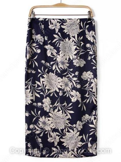 Navy Zipper Fly Floral Print Back Split Skirt - HandpickLook.com