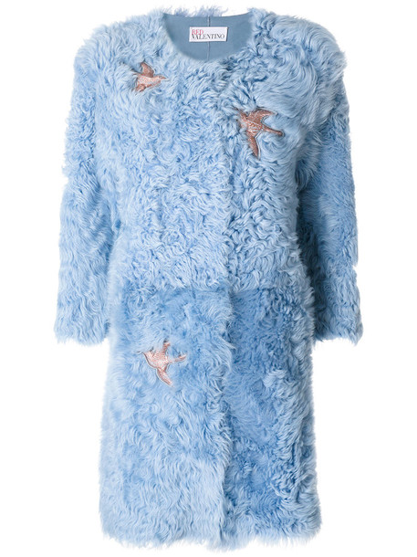 coat embroidered fur women cotton blue