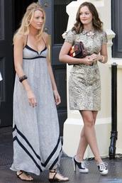 blake lively,gossip girl,maxi dress,serena van der woodsen,dress,shoes,jewels