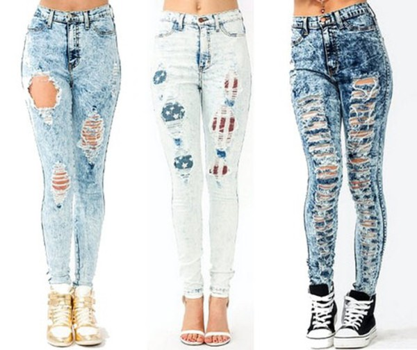 Ripped Highwaist Acid Wash Skinny Jeans : Glamorous and Fabulous |