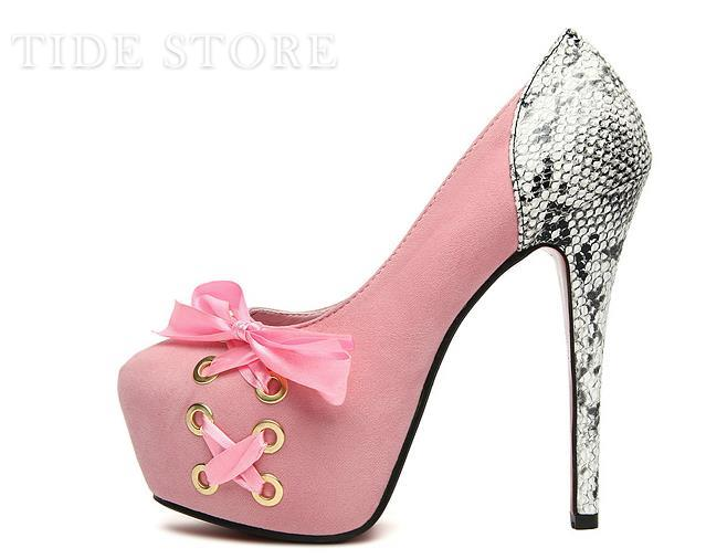 Charming Bow Platform Stiletto Heel Closed Toe Pumps: tidestore.com