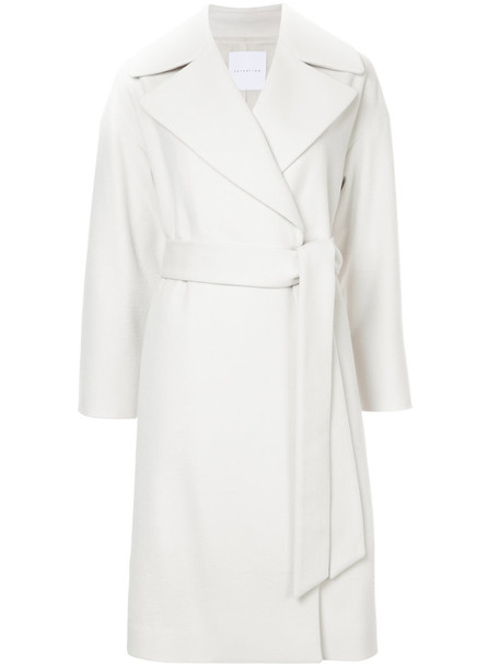 Estnation - classic trench coat - women - Wool - 38, White, Wool