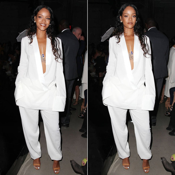jacket suit white suit rihanna fashion week 2014