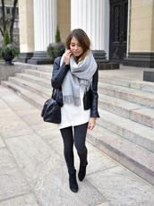 mariannan,blogger,jacket,scarf,jeans,bag,jewels,leather jacket