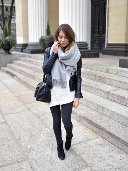jacket mariannan scarf bag jewels blogger jeans leather jacket