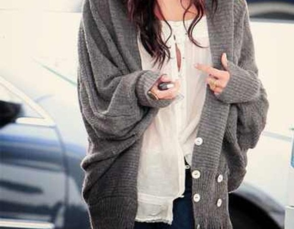 hipster sweater blouse oversize boho grey grunge alternative jewelry