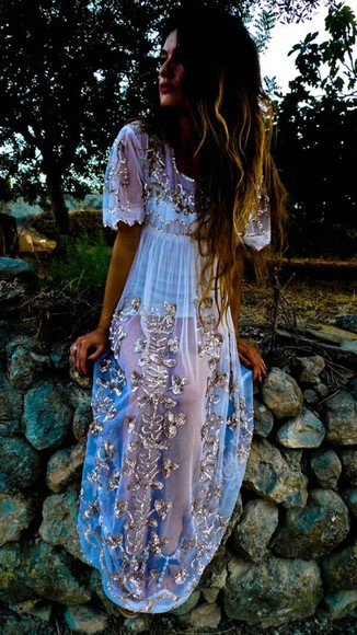 dress white sparkle dress maxi dress seethrough glitter pretty neon long dress white dress newyears embellishments dress boho sheer gold trim see through cute prom dress tumblr dress, vintage, floral, summer, mint, indie, hippie, hipster, pastel dress lilac dress gold