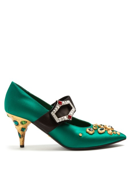 Prada embellished pumps satin green shoes