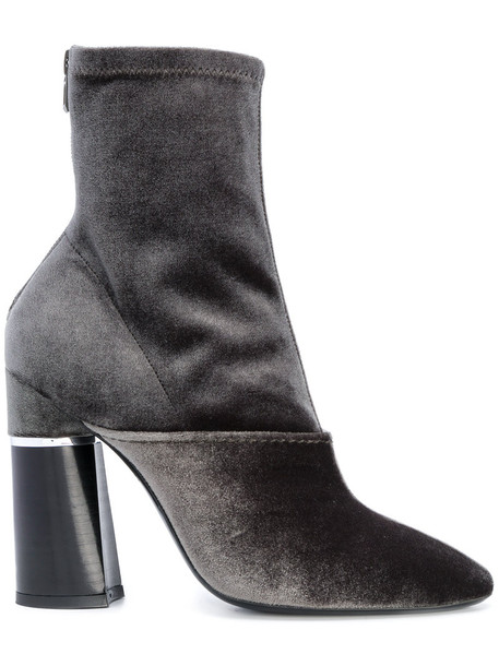 heel chunky heel women heel boots leather velvet green shoes