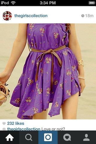 dress purplr flower girl dress belt