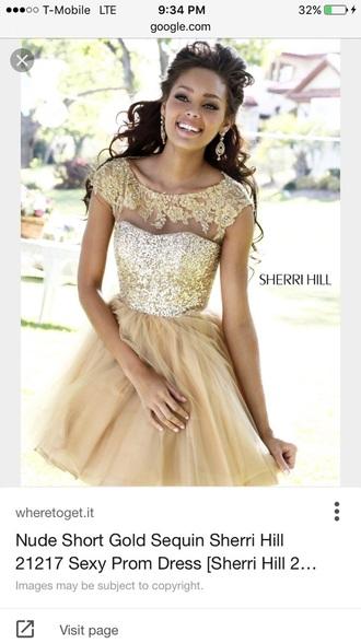 dress gold nude sherri hill sequins