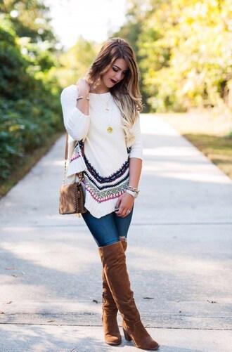 herestheskinny blogger jeans shoes bag jewels make-up shoulder bag thigh high boots brown boots