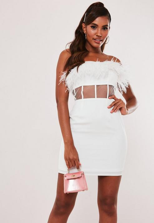 White Feather Mesh Waist Mini Dress