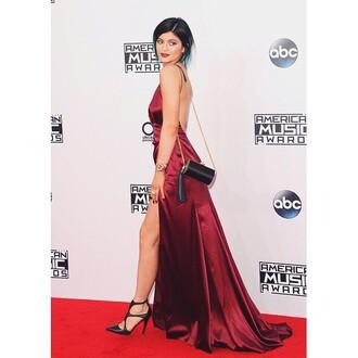 dress purse heels kylie jenner red dress blue dress celebrity style red carpet dress american music awards