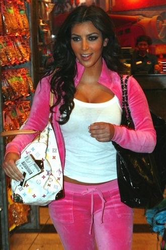 kim kardashian pink two-piece tracksuit