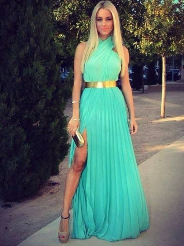 dress blues gold belt turquoise mint green gown
