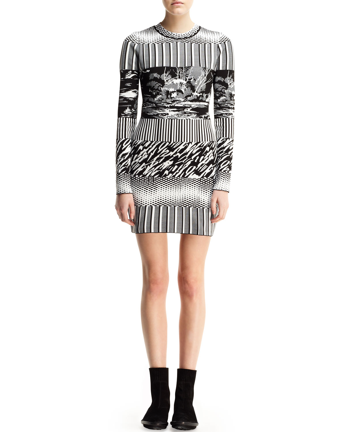 Balenciaga Long-Sleeve Mixed-Print Dress