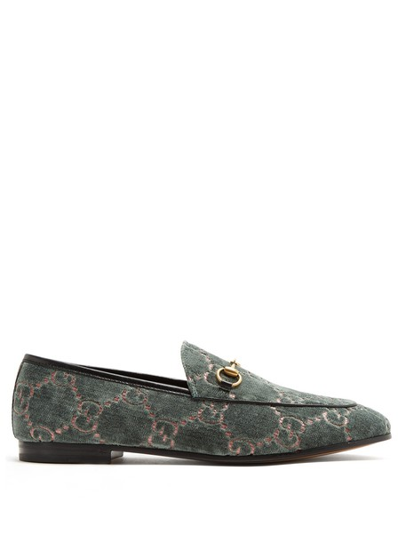 gucci jacquard loafers velvet green shoes