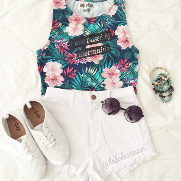 top mermaid tropical crop tops cute quote on it shoes shorts floral tank top sunglasses jewels t-shirt amazon sexy super love blouse glasses tank top flowered summer top t-shirt beautiful summer swag vintage été grunge retro shirt flowers mermaid color/pattern