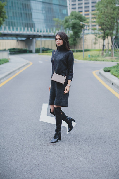 the golden diamonds blogger grey dress black boots charcoal dress sweater shoes jewels bag