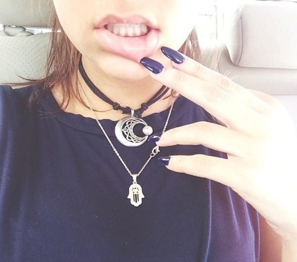 jewels necklace black silver crescent moon
