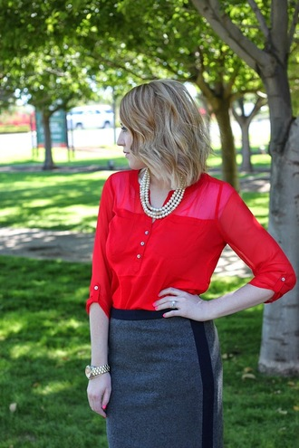 necklace blogger fashion flirtation blouse red watch grey skirt