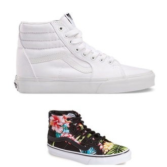 shoes high tops vans white hawaiian