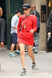 skirt,sneakers,red,bella hadid,model off-duty,streetstyle,top,hat,nyfw 2017,ny fashion week 2017,shoes,model,black hat,accessories,Accessory,newsboy hat,cabby hat
