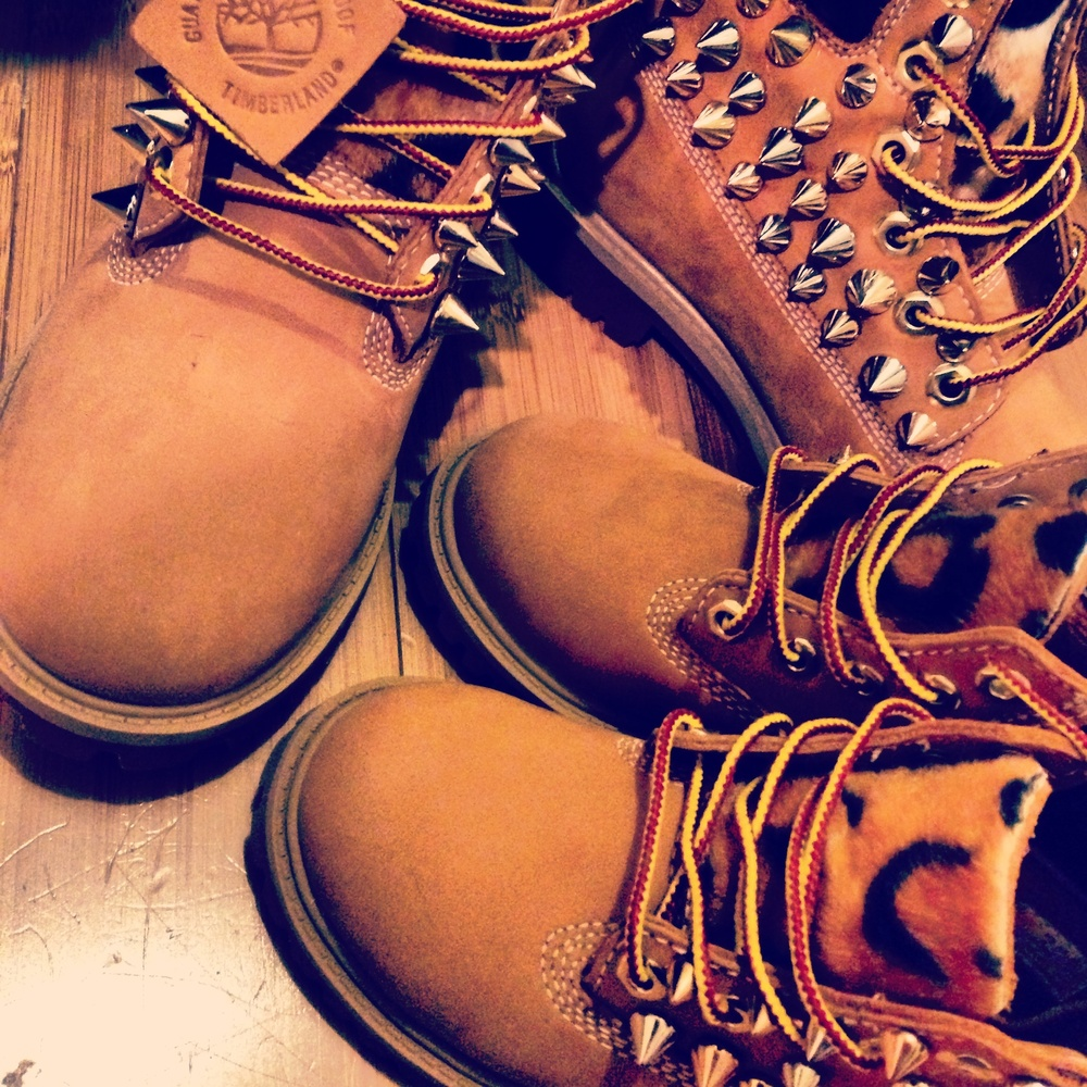 Customized Timberlands With Spikes Custom Spiked Leopard