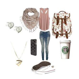 bag starbucks floral canvas backpack backpack jeans scarf shoes