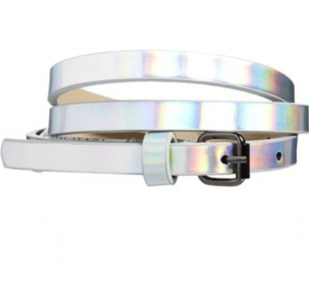 belt holographic waist belt pastel goth pale division pale pale grunge silver belt