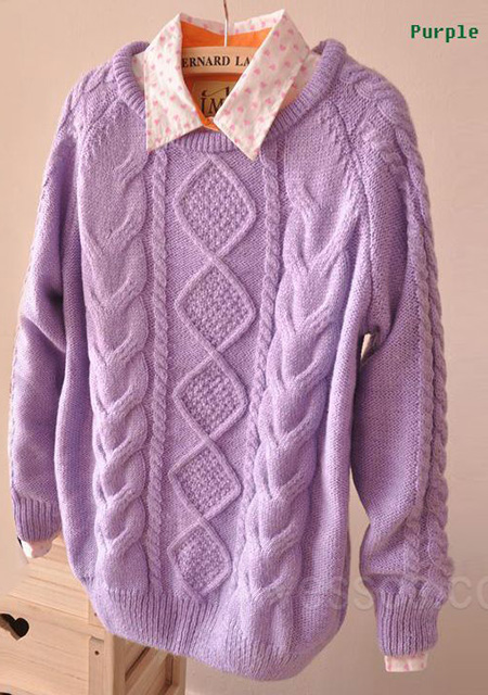 Women's pure color retro woollen sweater online