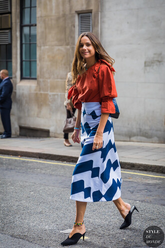shoes skirt top mules black mules blue and white skirt