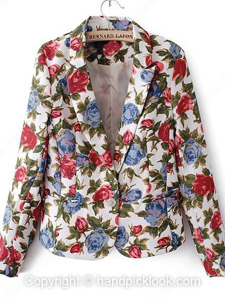 White Contrast Lapel Long Sleeve Flowers Print Pockets Blazer - HandpickLook.com